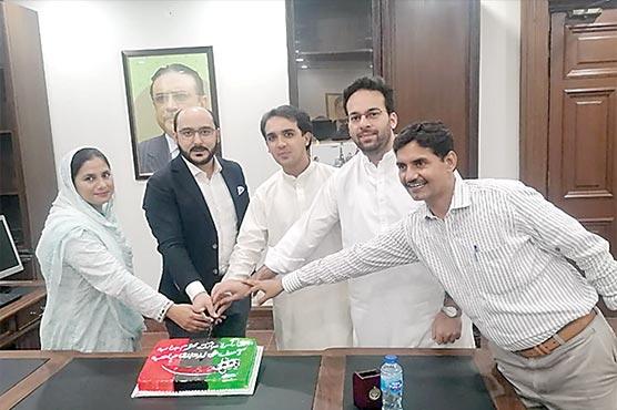 پنجاب اسمبلی ،آصف علی زرداری  کی 66 ویں سالگرہ کا کیک کاٹا گیا