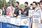 خواتین اور بچوں پر تشدد کے حوالے سے احتجاجی مظاہرہ
