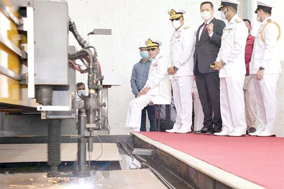 پاک بحریہ کیلئے چوتھے ملجم کلاس کارویٹ کی تعمیر کا آغاز