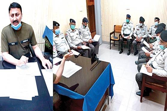 ڈی ایس پی کی پٹرولنگ پولیس انچارجز سے ماہانہ میٹنگ