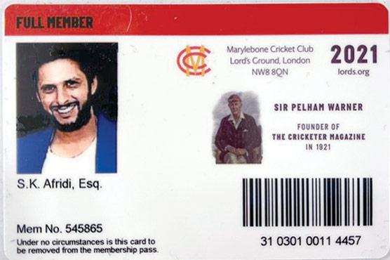 شاہد آفریدی کیلئے ایم سی سی کی تاحیات رکنیت کا اعزاز