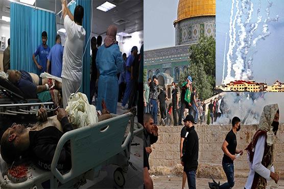 غزہ میں اسرائیلی طیاروں کی وحشیانہ بمباری، 9بچوں سمیت 20فلسطینی شہید : مسجد اقصیٰ میں زخمیوں کی تعداد 600 تک پہنچ گئی