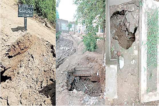 جڑانوالہ:مرکزی قبرستان بارش سے متاثر ، قبریں زمین بوس