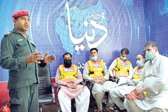 ریسکیو 1122کی دنیا میڈیا گروپ ملتان آفس میں تربیتی ورکشاپ