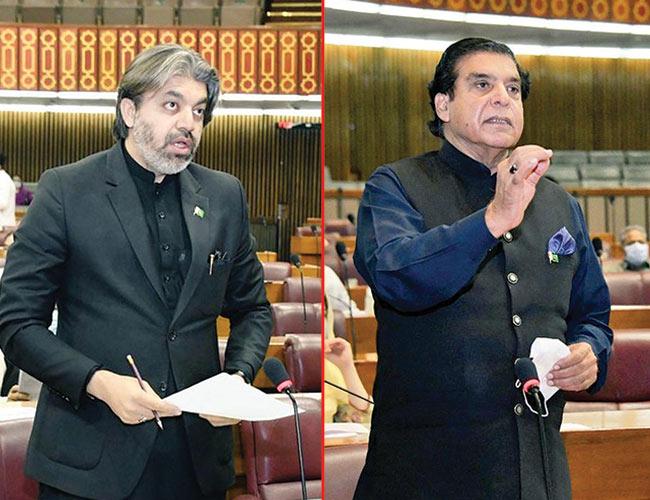 اسلام آباد :راجہ اشرف اور علی محمد خان قومی اسمبلی میں اظہار خیال کر تے ہوئے