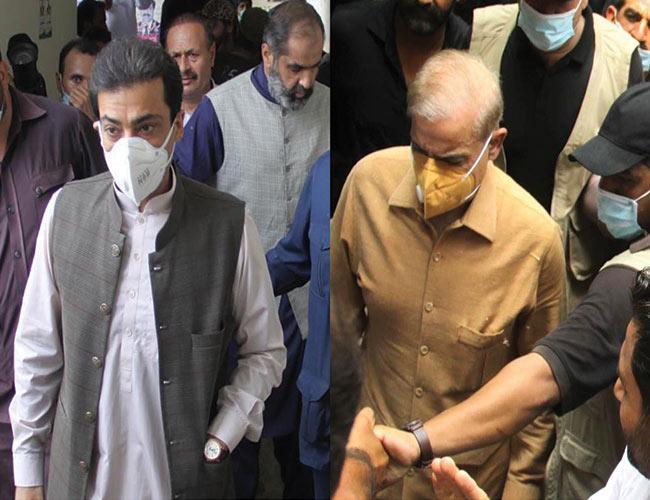 لاہور:سیشن کورٹ میں شہباز شریف اور حمزہ شہباز پیشی کیلئے آرہے ہیں